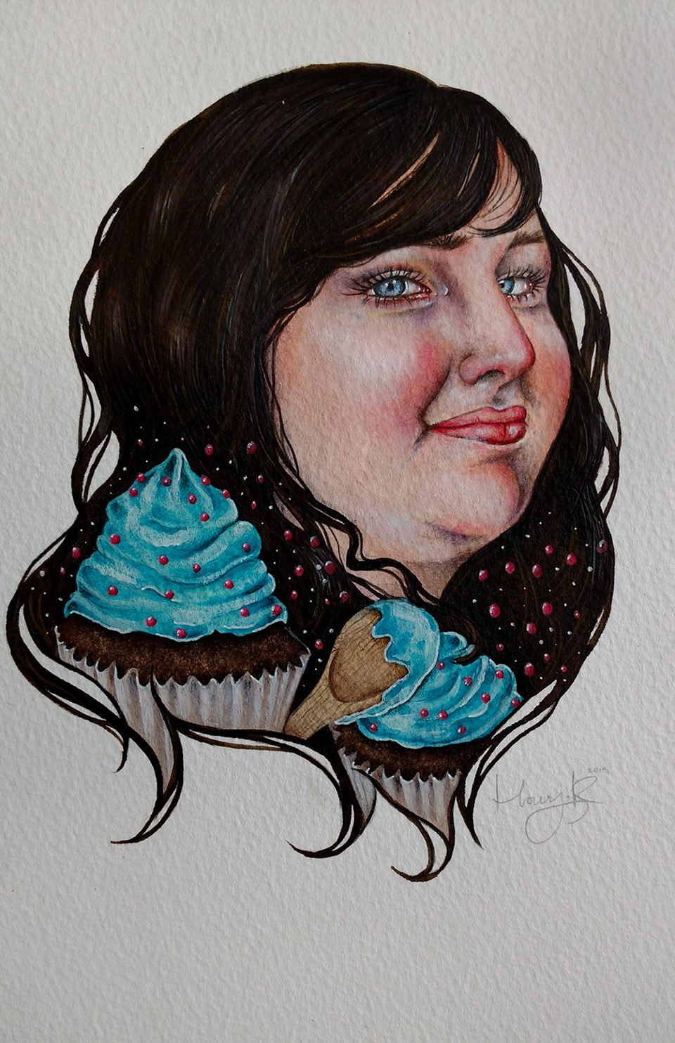 portrait-illustration-mixed-media-watercolour-purple