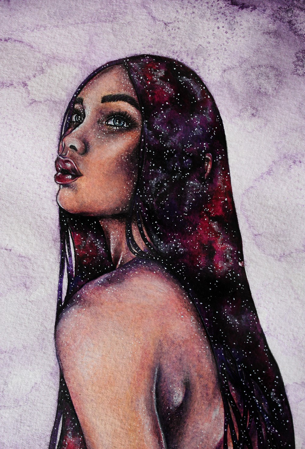 A Galaxy Effect Fantasy Female Portrait By Illustrator Holly Khraibani