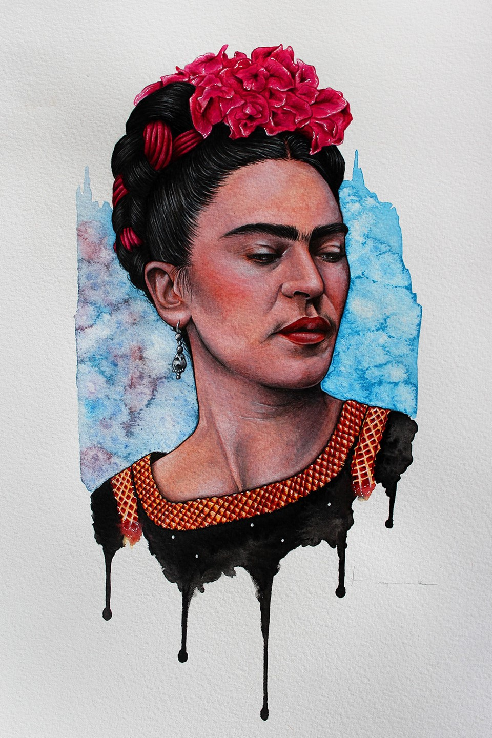 Mixed media portrait painting by Holly Khraibani