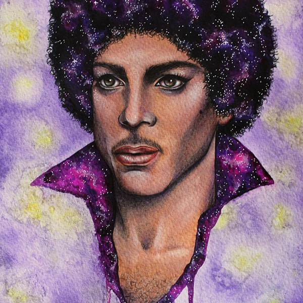Mixed media illustration of Prince by Holly Khraibani
