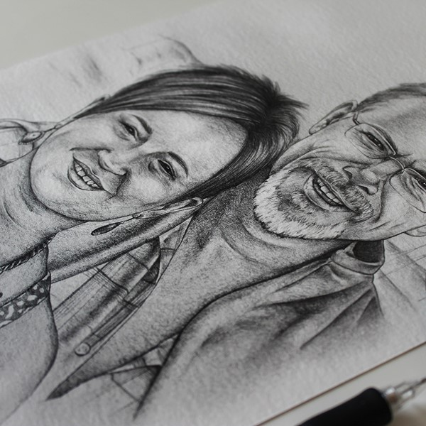 a black and white pencil sketch portrait