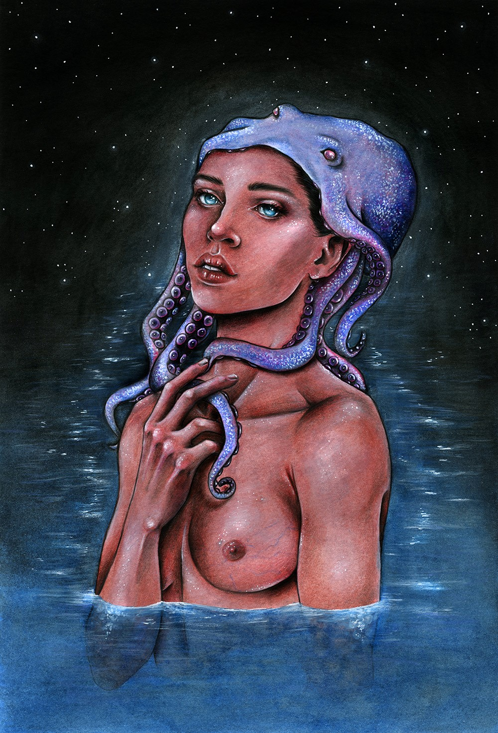 Midnight Depths - A Mermaid and Octopus Illustration