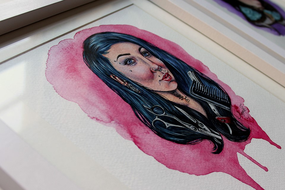 portrait-illustration-mixed-media-watercolour-pink