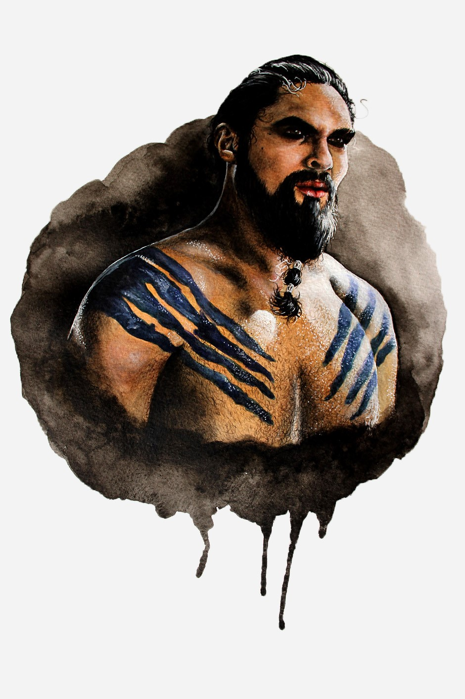 Khal Drogo mixed media illustration by Holly Khraibani