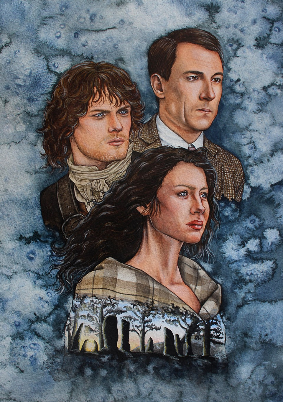 A mixed media portrait of the 3 main protagonists, Jamie Fraser, Claire Beauchamp, and Frank Randall. in the TV series Outlander.