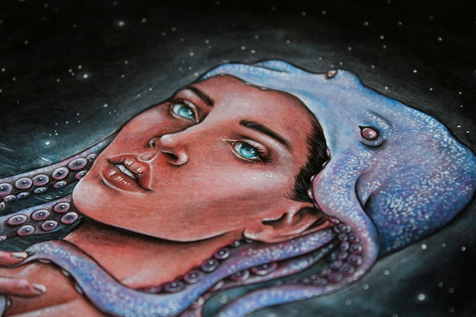 A Mermaid and Octopus Illustration by artist Holly Khraibani