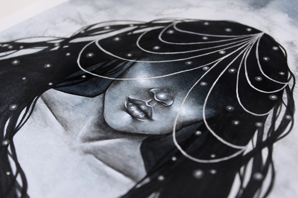 Monochrome Starlit Illustration by Artist Holly Khraibani